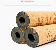 Recyclable Printed cork surface natural rubber backing yoga Mat