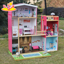 2017 New design girls uptown dollhouse modern size wooden uptown dollhouse wood uptown dollhouse with furniture W06A152