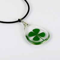 Tear Drop Pendant Lucky Pendant Clear Resin Rocket Green Four Leaf Clover Necklace Pendant