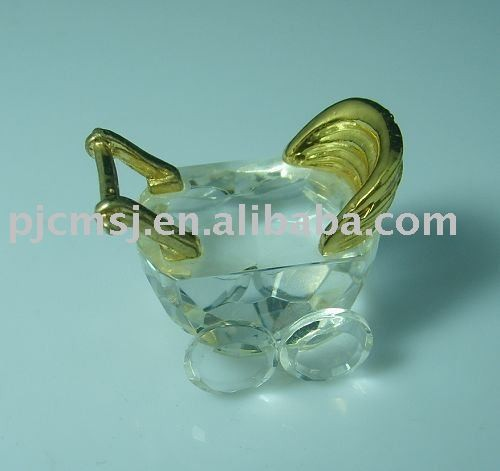 New Design - mini and lovely crystal baby stroller figurines,crystal models for Gifts.crystal animal 2015