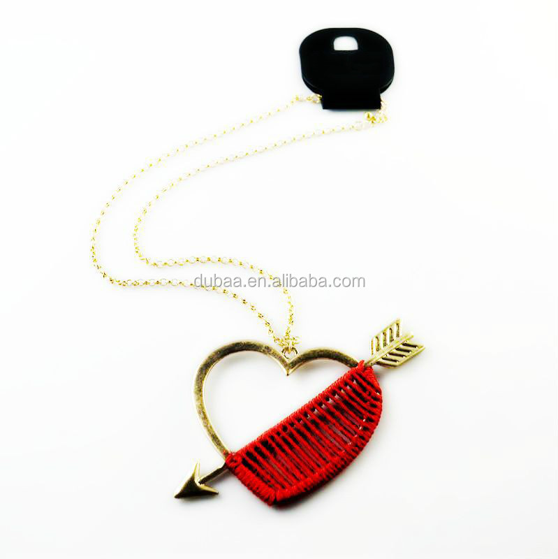 Pendant Red Heart Love Chain Cupid's Arrow Valentine Necklace 2016