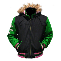 female's greek letter short jacket hood with fur trimmings