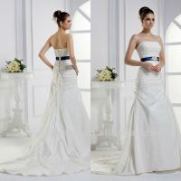 Noble Strapless A Line Court Train Pleated Sash High Waist Wedding Dress Bridal Gown