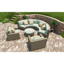 Light color rattan woven living room or balcony used big round cane outdoor patio luxury furniture sofa sets