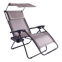Folding Zero Gravity Recliner Lounge Chair with Canopy Shade & Magazine Cup Holder Gray