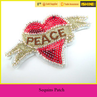 Wholesale Sequins Patch PEACE Heart Iron on Sequin Embroidered Patches