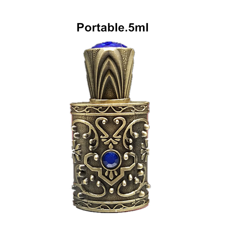 5ml Arabian perfume bottle with rose top Bronze Color Metal and Beads Decorated Glass Stick Cap