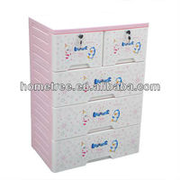 4 layers clothes drawers plastic clothing cabinet