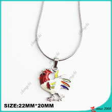Zinc Alloy Metal Enamel Cock Pendant Necklace