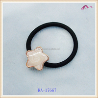 Free samples star shape ladies elastic hair band,fancy pattern resin black hair rubber band