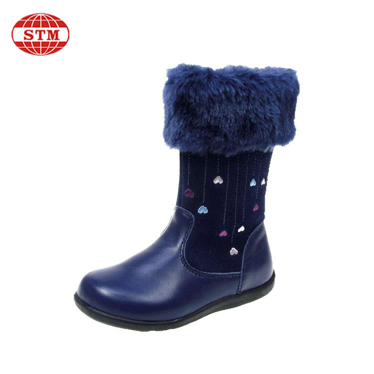 OEM Factory custom design hot sale cute litter girls warm snow kids long knee boots