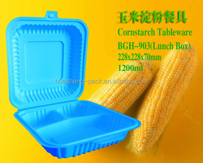 1200ml corn starch 3 compartments disposable plastic lunch box