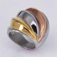 Amazon Hot Sale Tide Brand Rose Gold Silver Gold Three Color Ring Stainless Steel Jewelry 2018