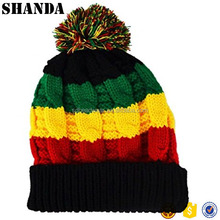 Rasta Beanie Bobble Hat Rasta Colours Black Red Yellow Green Ski Hat Slouch Reggae Hat