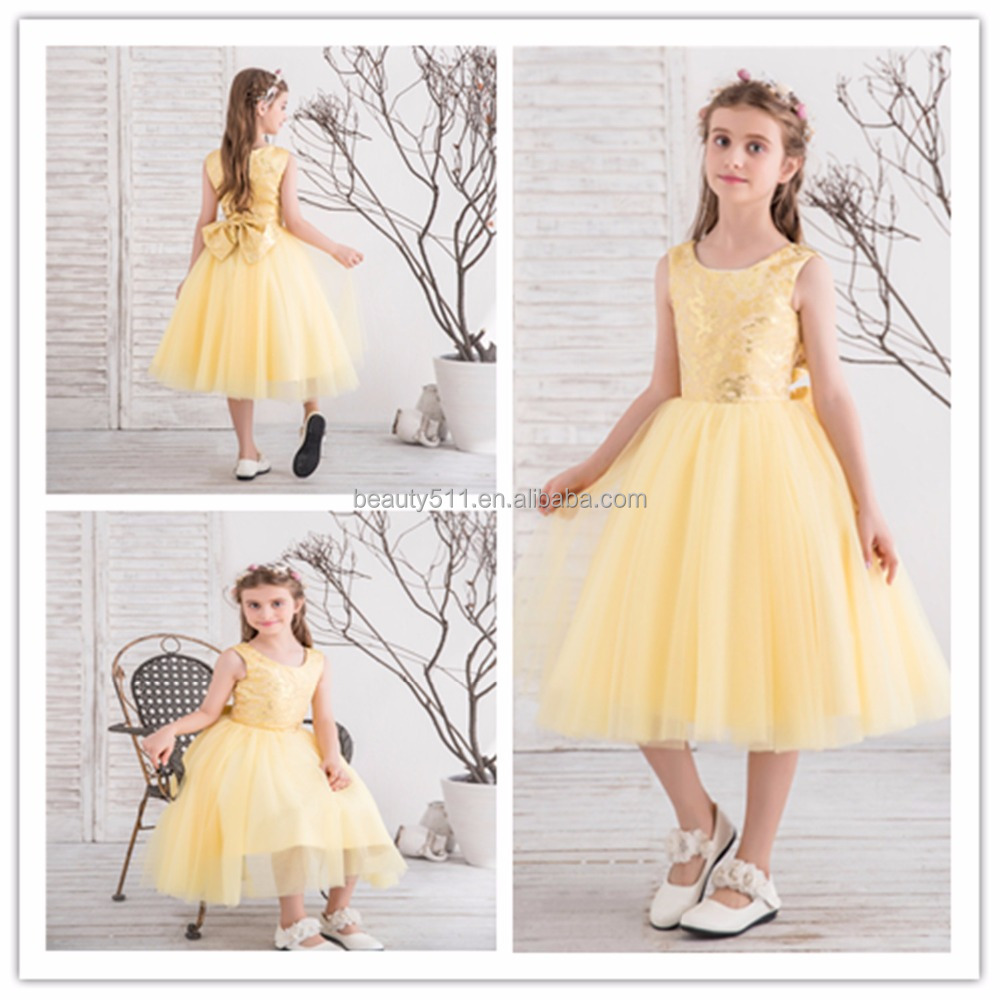 2018 Wedding Party Yellow Flower Girl Dresses Kids Party Wear
