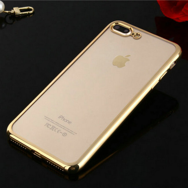 For apple iphone 8 electroplating bumper soft clear ultra-thin tpu phone case