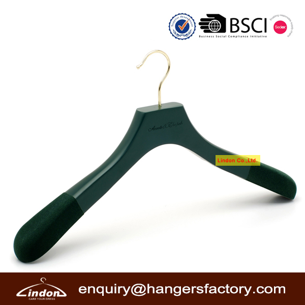 Assessed Supplier LINDON luxury green wooden women hangers