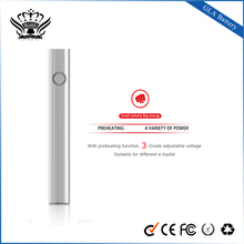 Shenzhen buddy ecig preheating function 3-grade adjustable voltage usb rechargeable battery