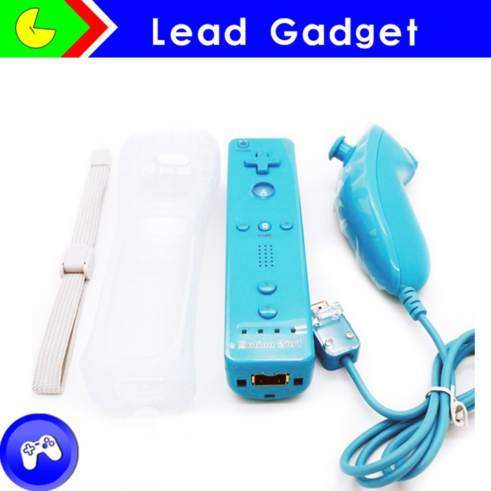2 in 1 built in motion plus wired remote nunchuck for wii controller, for wii accessories