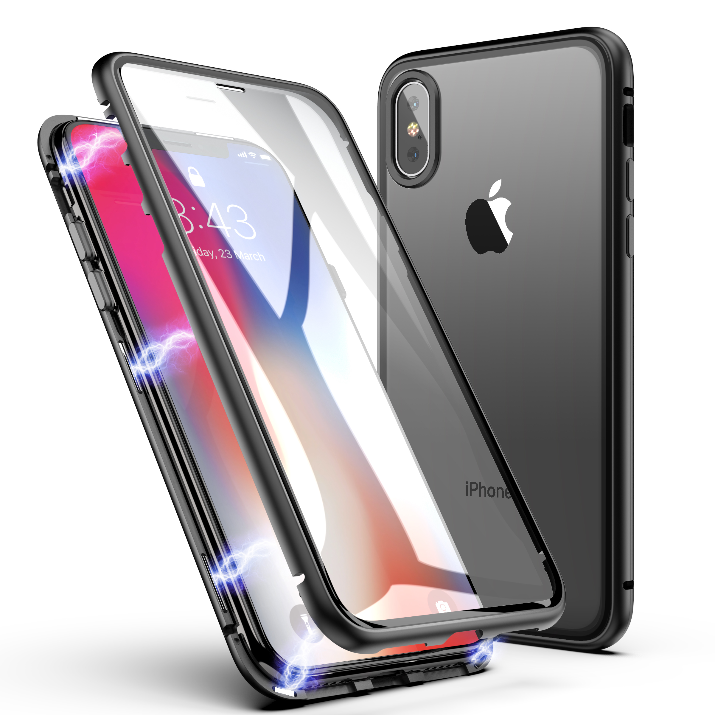 <strong>Hot</strong>!! Good quality Magnetic Tempered glass phone case magnet cell phone case for iphoneX