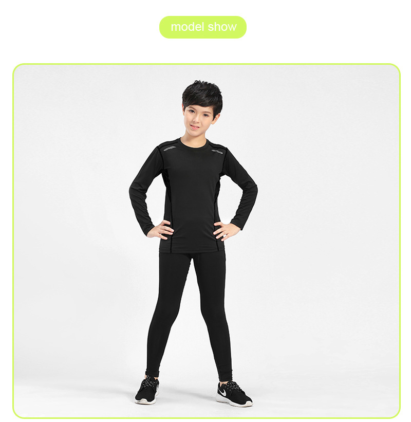 Wholesale Children Compression Tights Gym Fitness Clothing Set Breathable for Football