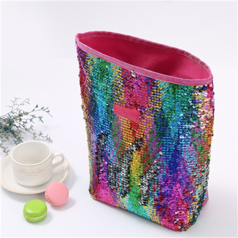 New Style Outdoors Picnic Aluminum Film Bento Ice Pack Color Sequins Collapsible Portable Insulated Lunch Bag