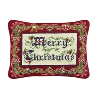 New Rectangle Hot Sale 100% Cotton Merry Christmas Needlepoint Christmas Throw Pillow