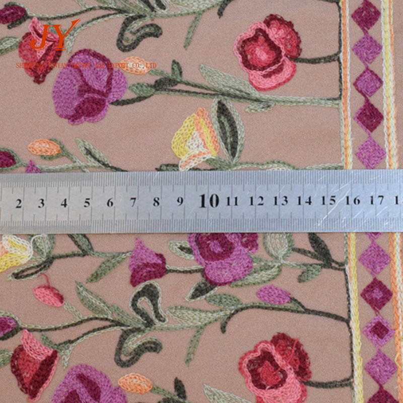 multicolor flower  two border embroidery chiffon fabric for garment styles