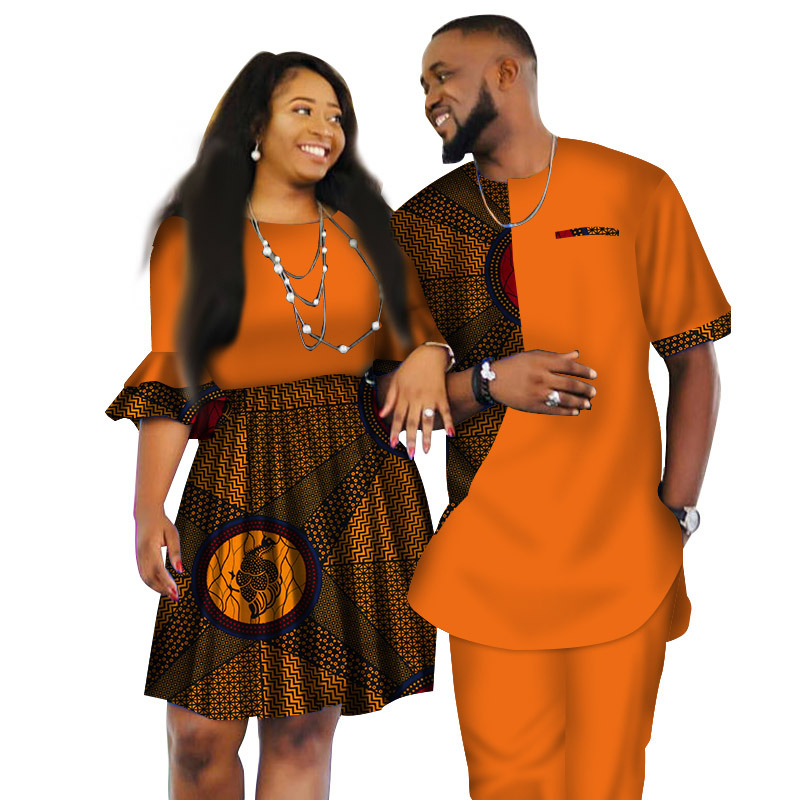 S3388  Latest african wax fabric Fashion Designs Women Skirts and Men Suits Short Sledeve for Couple Apparel