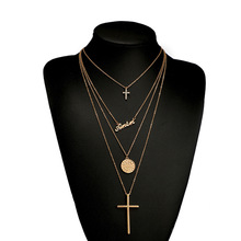 European and American English Letter Pendant Multi layer Chain <strong>Necklaces</strong> Gold Plated Cross <strong>Necklace</strong> Wholesale