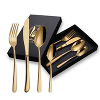 4/5 Piece In Stock Silverware Set Flatware Gift Silver Gold Metal Stainless Steel Cutlery Gift Set With Gift Box