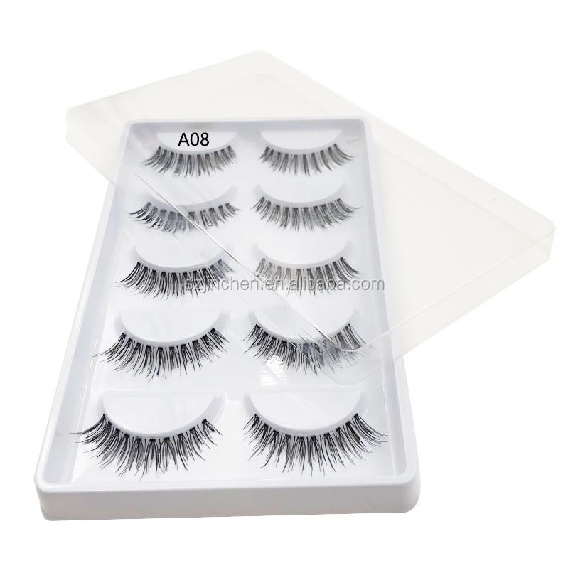 Wholesale free sample <strong>A08</strong> cheap price 5 pairs synthetic hair eyelashes transparent stem