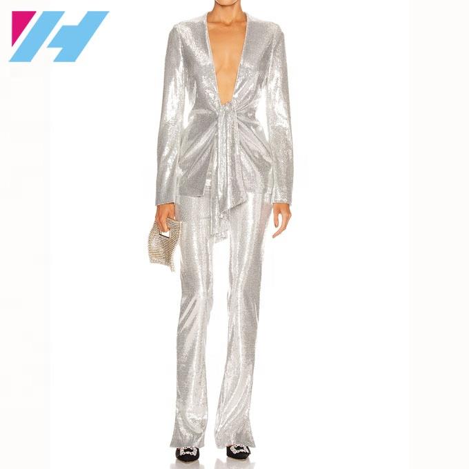 Wholesale OEM front tie top glittering sequined women suit