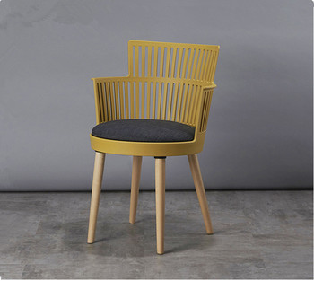 European style plastic dining chair seat and back  Padded Cushion Natural Wooden Legs Armchair with good price