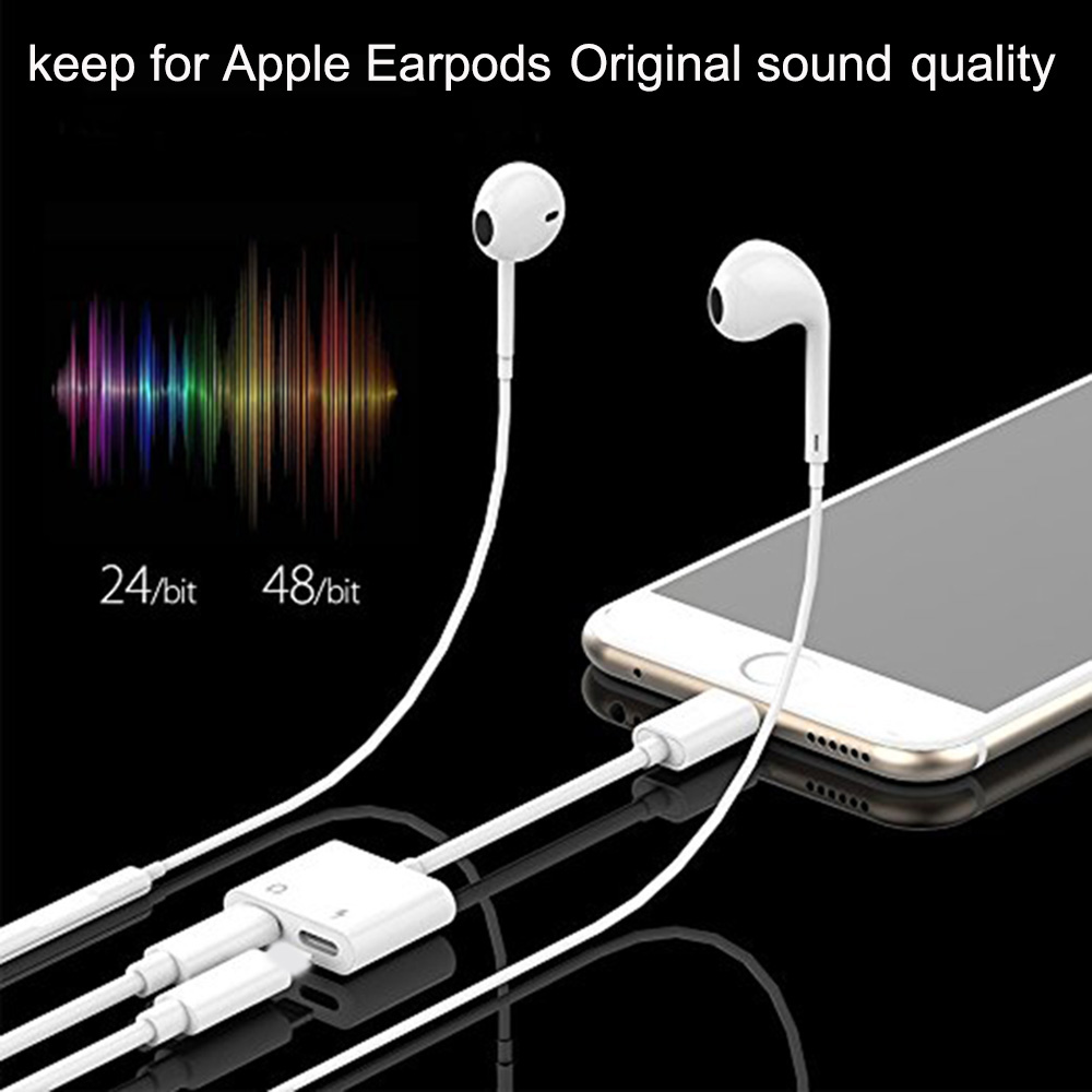 Newest 2 in 1 8 Pin Double Jack Earphone Aux adapter For iPhone XS Max X 8 7Plus Dual Headphone Audio Charger IOS 12