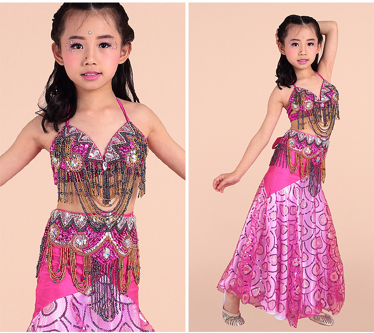 New post belly sequin dance dress bra and belt long skirt for children