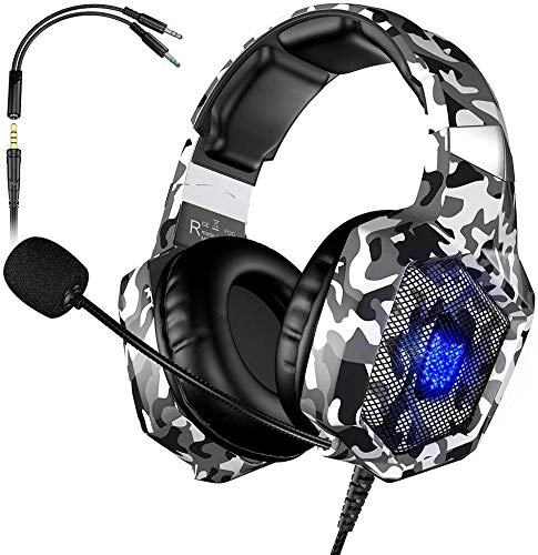 K8 Deep Bass PS4 Camo Gaming Headphones with Noise Isolation Mic LED Light <strong>Friction</strong>-Reduction Cable Camouflage Gaming Headset