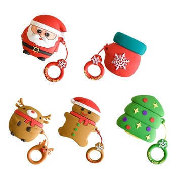 Soft Silicone Cute Cartoon Protective Cover for Apple Airpods Earphone Santa Merry Christmas Tree Case with Hooks For Gift