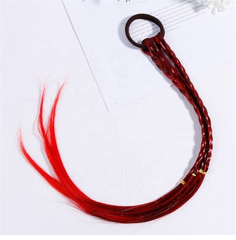 Wig Elastic Hair Band Girls Hair Accessories Hair Tie Colorful Twist Braid Rope Bell Design Children Headband Headwear
