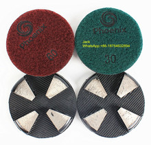 3 inch Concrete Terrazzo Metal Diamond Grinding Discs / Pads with Flexible Soft Rubber Base Shim