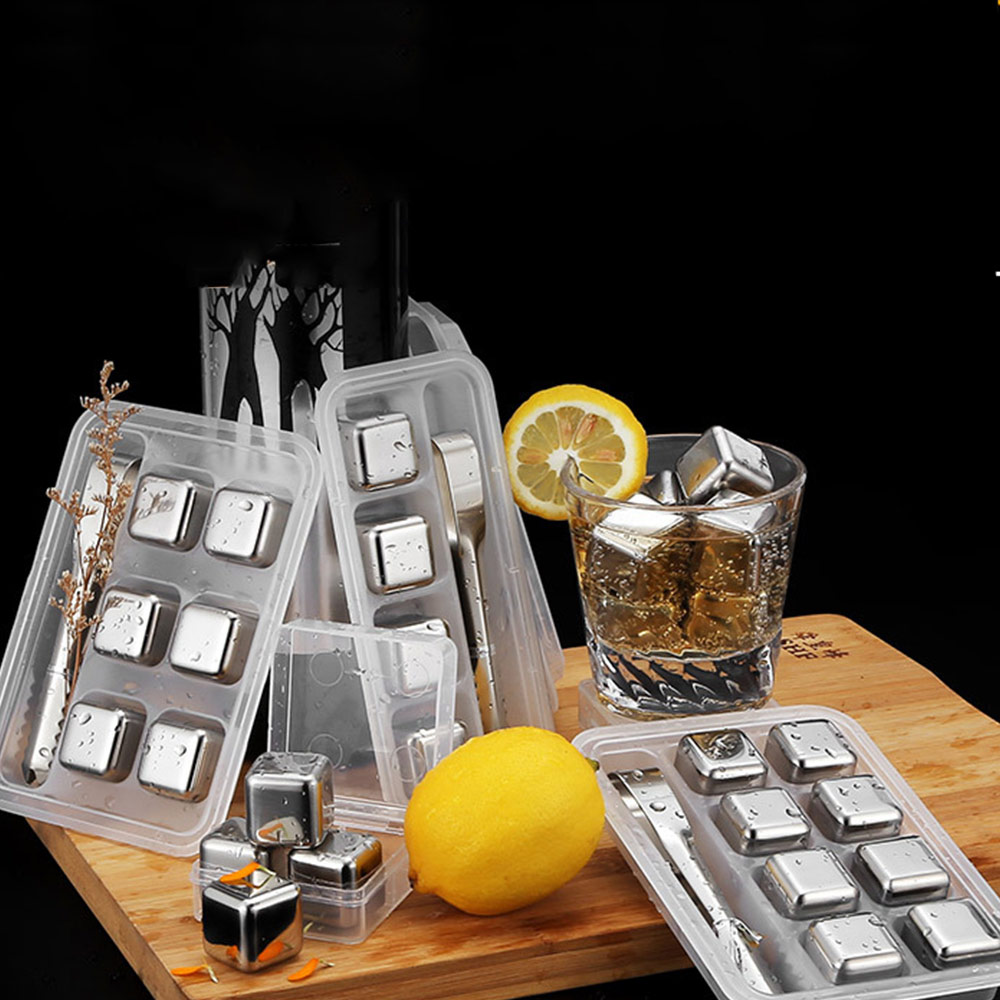 Stainless Steel Whiskey Stones Reusable Ice Cubes for Undiluted Drinks - Whiskey, <strong>Wine</strong>, Beer, Any Cold Beverage