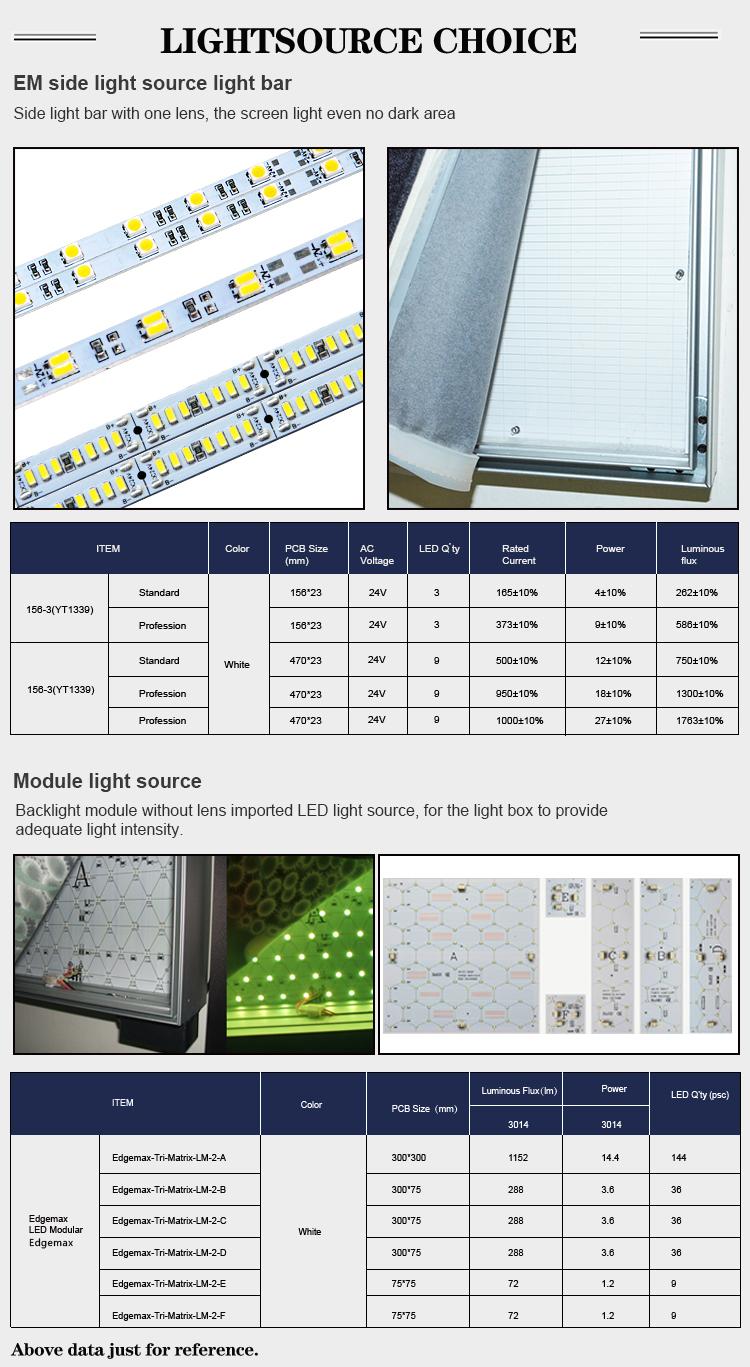 Edgelight AF18 backlit led light box advertising CE ROHS customized size frameless fabric light box