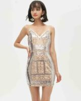 Women Spaghetti Strap Sequin Sexy Bodycon very Short Mini Club Wear Dresses