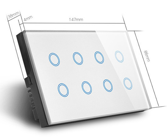 Weiwo US standard Smartlife 8 gang controller Luxury Glass Panel light panel intelligent wireless led smart wifi touch <strong>switch</strong>.