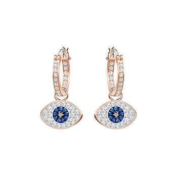 925 Sterling Silver CZ Evil Eye Stud Earring Rose Gold Plating Clear CZ Crystal Evil Eye Dangle Earrings for Women
