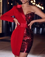2020 new style one shoulder sequin patchwork long sleeve <strong>party</strong> <strong>dress</strong> women sexy pattern mini <strong>dress</strong> length