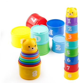 8PCS Educational Baby Toys 6 Months+ Figures Letters Folding Stack Cup Tower Children Early Intelligence