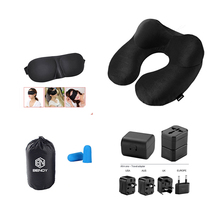 Hot sale Amazon new customized travel adapter eye mask Inflatable airplane travel neck Pillow kit set