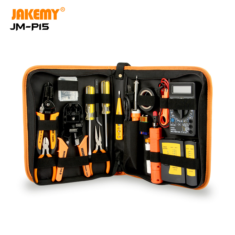 JAKEMY JM-P15 Wholesale Electricians Network Screwdriver DIY Repair Tool Set Electrical Tool <strong>Kit</strong> Soldering Iron <strong>Kit</strong>