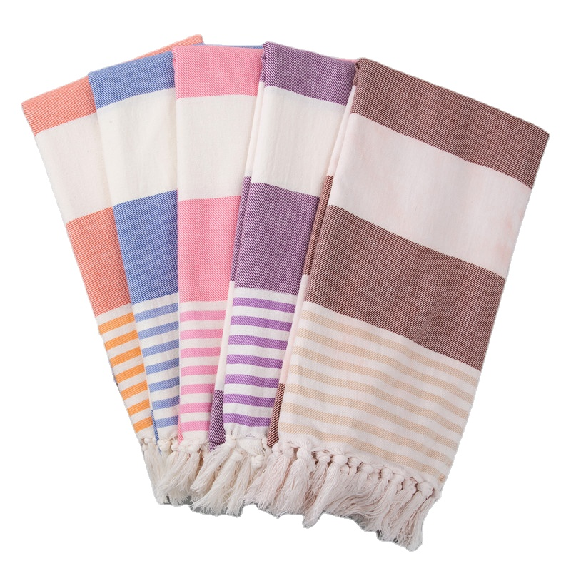 wholesale custom stylish traditional 100% cotton striped design tassels hamam bath fouta <strong>towel</strong> peshtema turkish beach <strong>towels</strong>